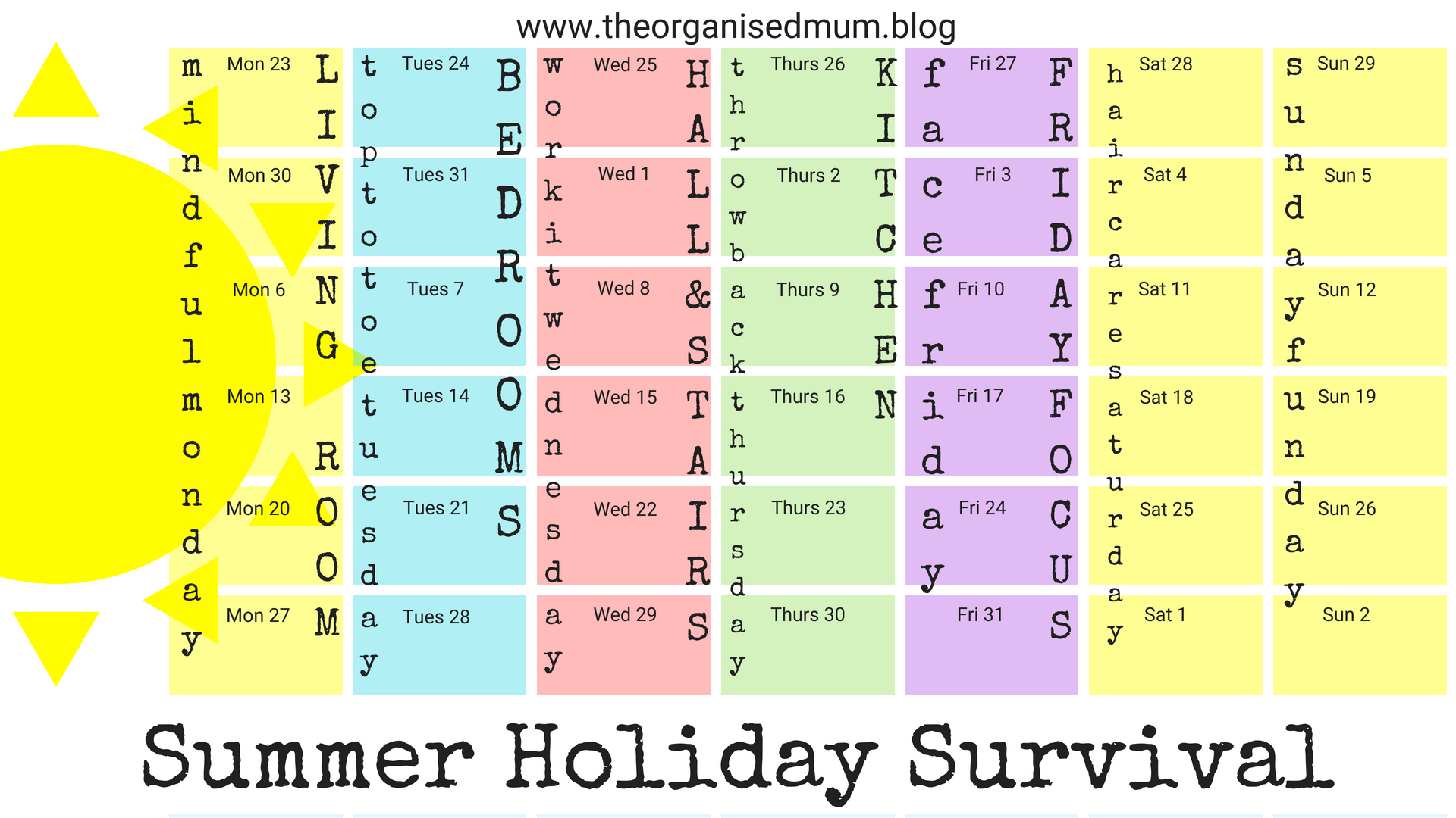 Summer Holiday Survival Sheet